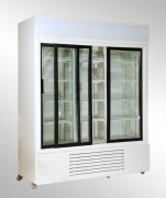 Display refrigerator with flat double glass