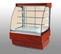 Display refrigerator with curved single glass